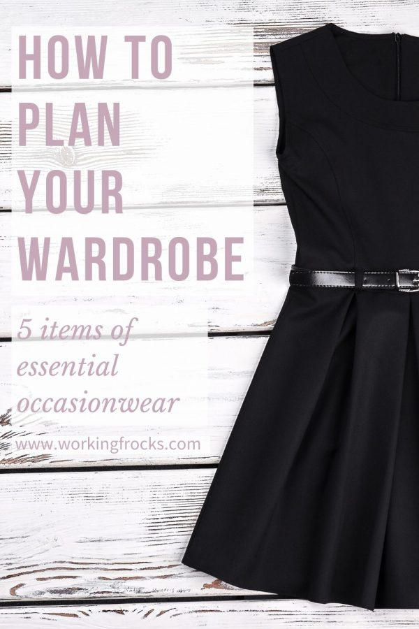 Image of black dress with black leather belt, the skirt is quite full and pleated, the dress is sleeveless. It is a flatlay image. The title of the blog is how to plan your wardrobe