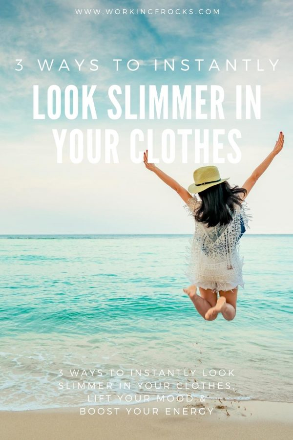 Woman facing the sea and jumping for joy. She wears a sunhat and a short summery outfit. The blog title is 3 ways to instantly look slimmer in your clothes