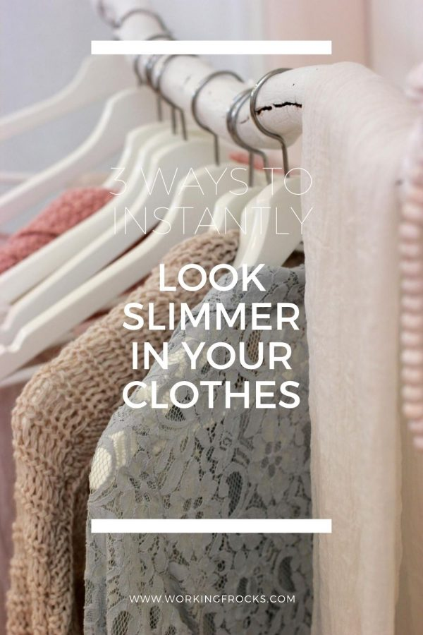 Rack of clothes with white wooden hangers. The clothes are in soft muted tones of pale brown and grey lavender. The blog title is 3 ways to instantly look slimmer in your clothes