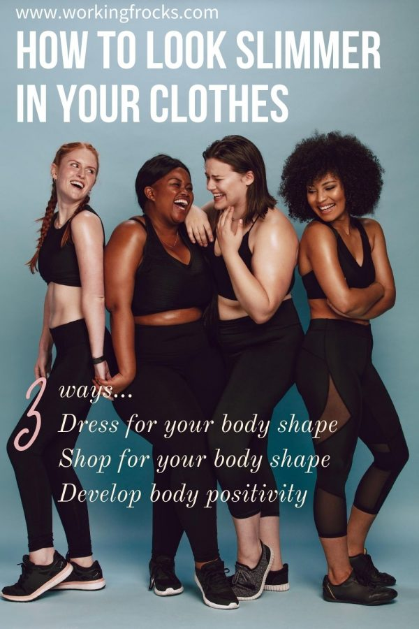 The post is for how to dress for your body shape.  The image is of four women dressed in work out clothing: black cropped tops and black dropped leggings.  They are of different sizes, shapes and colour.  they are all laughing.