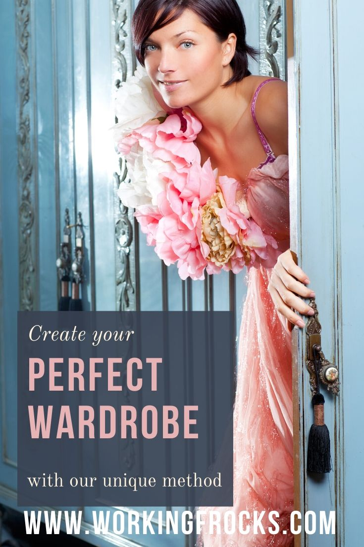 Create your perfect wardrobe image of a woman stepping out of a wardrobe