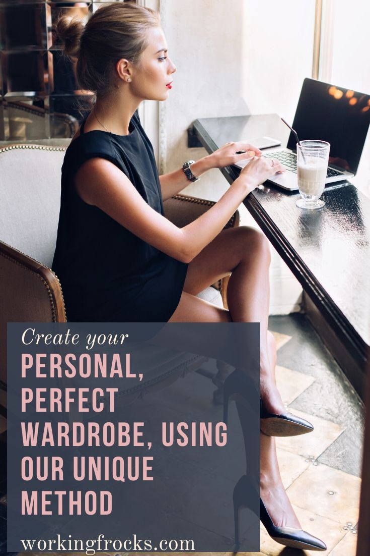Create your perfect wardrobe: immaculately dressed woman working at a laptop in a cafe