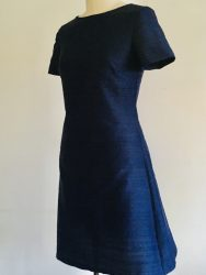 Navy silk shift dress for curvy women