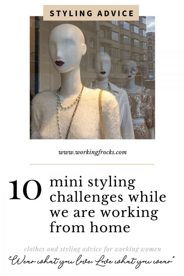 10 mini styling challenges while we are working from home, image of shop mannequins with red lipstick