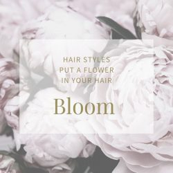 faded picture of peonies, advertising sytling tip about putting a flower in your hair