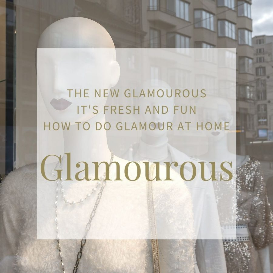 "Background image of three white shop mannequins with red lipstick. Text overlay is the title of the blog post, ""Glamourous"""