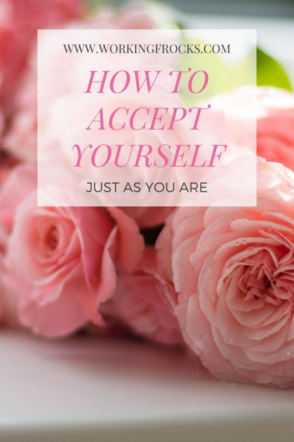 background image of pale pink peonies. Title of pin says, How to accept yourself just as you are