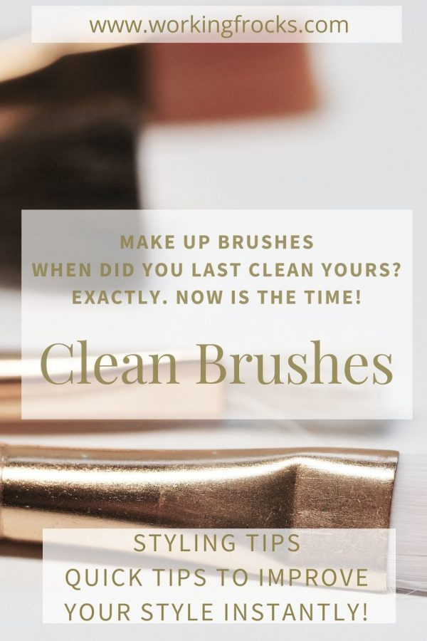 make up brushes with white bristles and bronze/wood handles