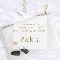 lipstick, earring and wording about instantly improving your day through what you are wearing
