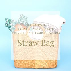Staw bag with circular handles, the bag is packed with items
