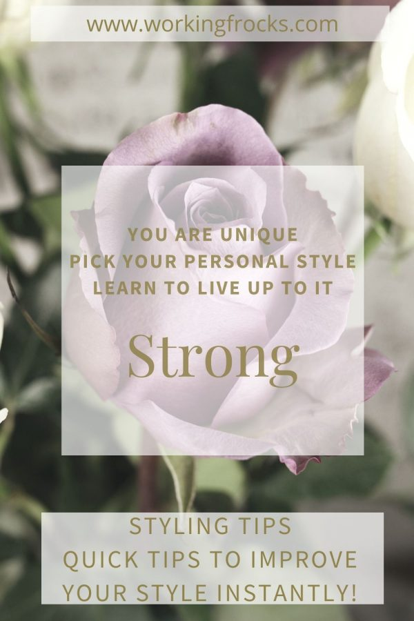 "lilac rose background with a text box superimposed. The article is about inner strength and is titled, ""Strong"""