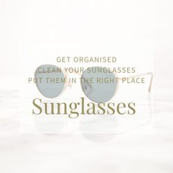 image of round lens sunglasses with gold frames - blog post on tidying your sunglasses