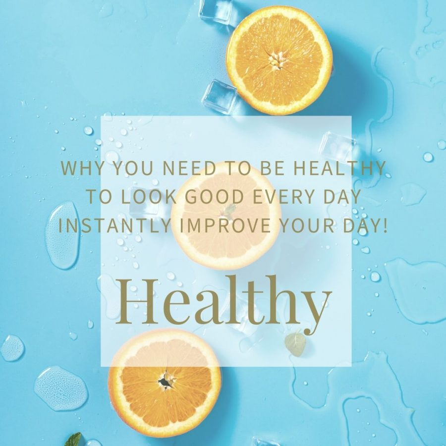 3 half oranges on a blue background for the 'Healthy' styling tip