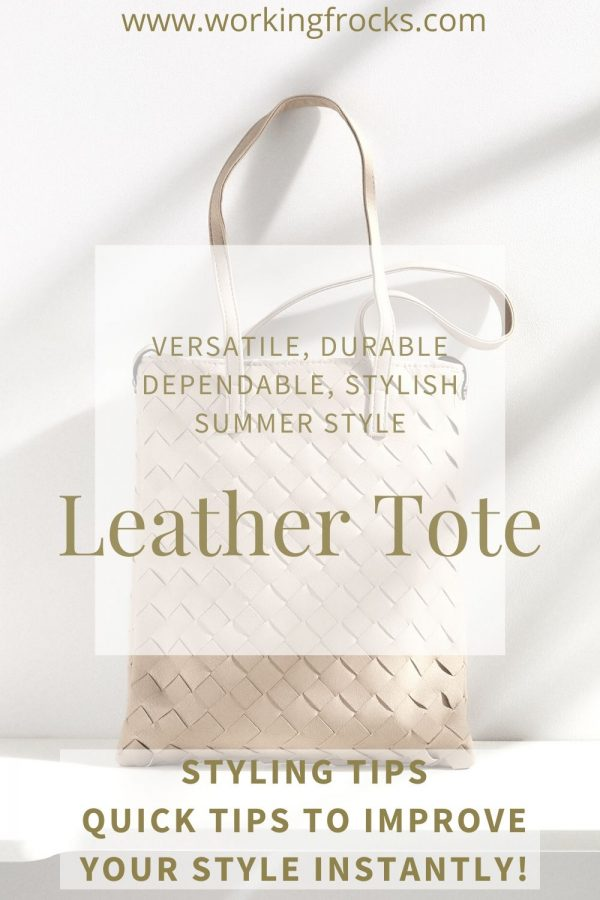 cream tote bag made of strips of leather woven together and long straps