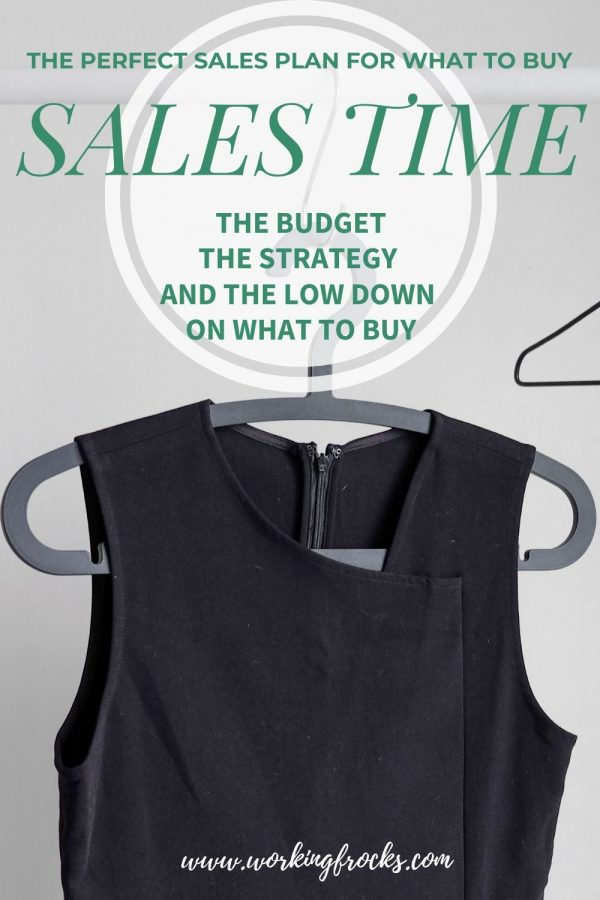Black sleeveless dress on a grey hanger. Wire hanger in the background. image is for a blog on Sales Time and what to buy in the sales