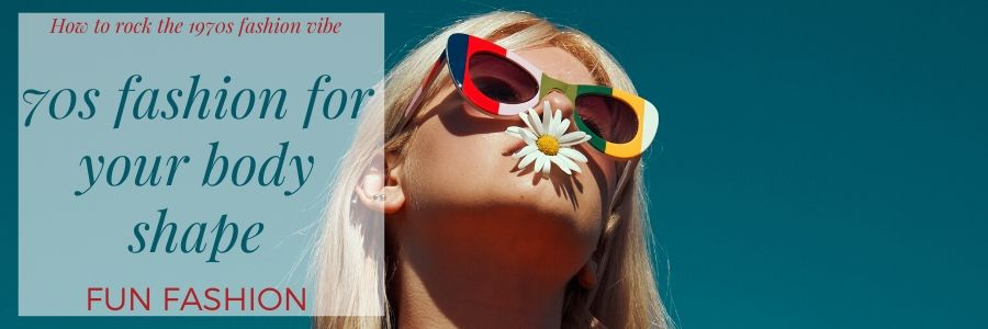 blond woman with pop art sunglasses with multicoloured frames. She has a daisy in her mouth and the photo is set against a petrol blue background. very 1970s!