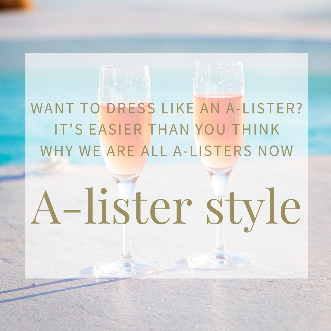 2 glasses of rose champagne against the backdrop of a swimming pool. Blog title is dress like an A-lister