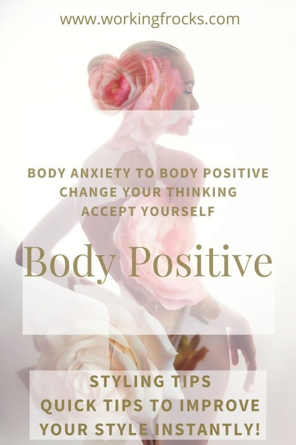 Image of a woman's body with a rose motif superimposed onto the silhouette. Styling Tip title is Body Positive