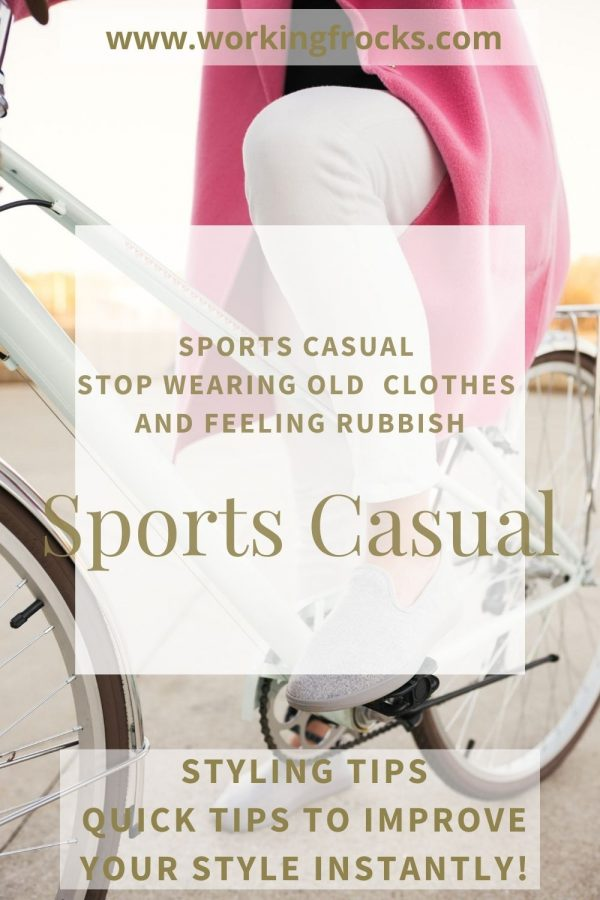 Woman on a white traditional style bicycle. She is wearing a pink coat, sports casual white trousers and pale grey casual slip-on shoes. Only the bottom half of her body is in the image. The image is for a post entitled Sports Casual