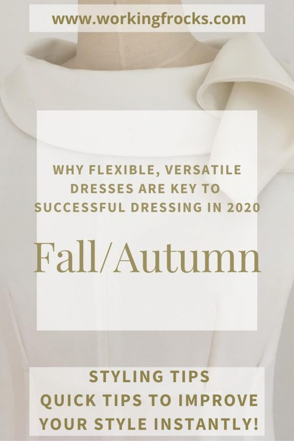 Black White Grey Early Fall/Autumn Dresses for your working day - Adventure - Close up - White sleeveless dress with draped collar. Autumn Winter 2020. Part lined.