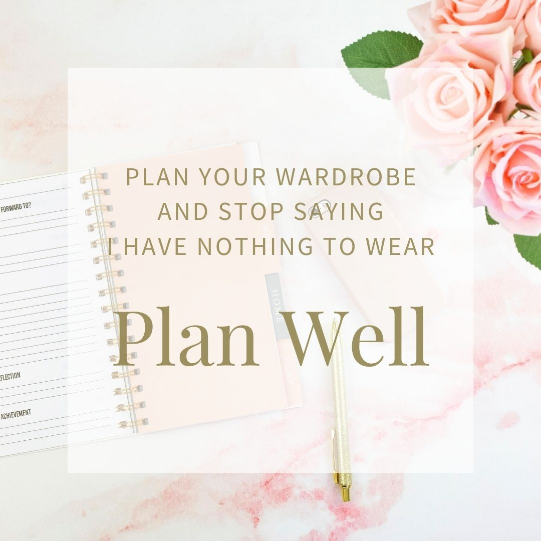 How to plan well. Image of a planner and a pen and flowers all in pale pink.