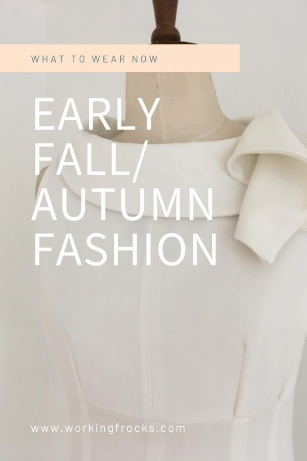 Early Autumn/Fall fashion - Dresses for your working day - Adventure - Close up - White sleeveless dress with draped collar. Autumn Winter 2020. Part lined.