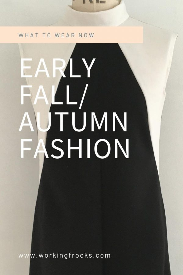 Early Autumn/Fall fashion - Dresses for your working day - Challenge - Close up - black and white style a-line dress, sleeveless with white trinagular fabric panel at the shoulder and white small funnel neckline. Autumn Winter 2020. Part lined.