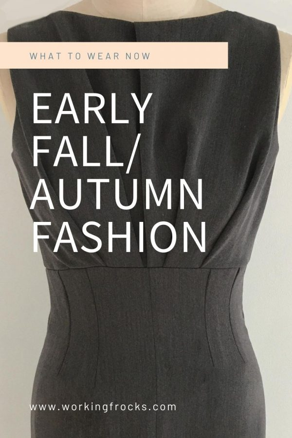 Early Autumn/Fall fashion - Dresses for your working day - Courage - Close up - Grey pleated bodice dress, sleeveless with raised waist seamline but fitted to the natural waist. Autumn Winter 2020. Part lined.