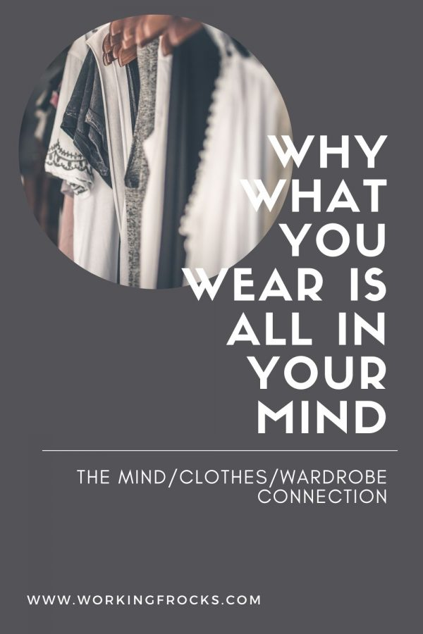 Blog post Why what you wear is all in your mind - blog header with image of clothes on a rack with wooden hangers