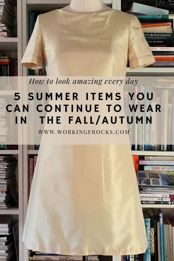 Summer clothes you can keep wearing in the fall/autumn gold silk short sleeved shift dress for curvy women