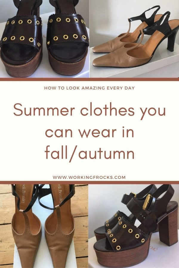 Summer clothes you can wear into fall/autumn. Image of shoes, brown See by Chloe chunky sandals and beige and black slingbacks by Russell & Bromley