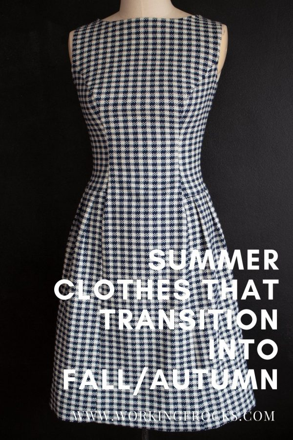 Summer clothes you can wear into fall/autumn. Blue and white dogtooth check dress
