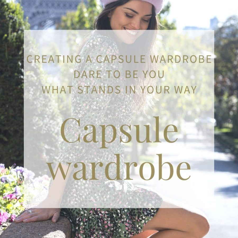 Creating a capsule wardrobe woman in a floating knee length dress and beret working frocks