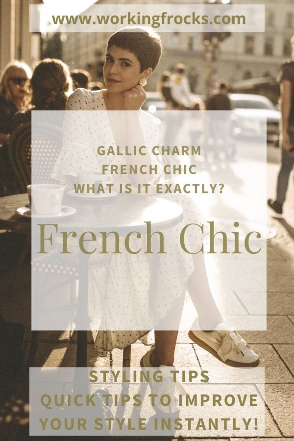French chic woman sitting on a pavement cafe in France Working Frocks blog post styling tips section