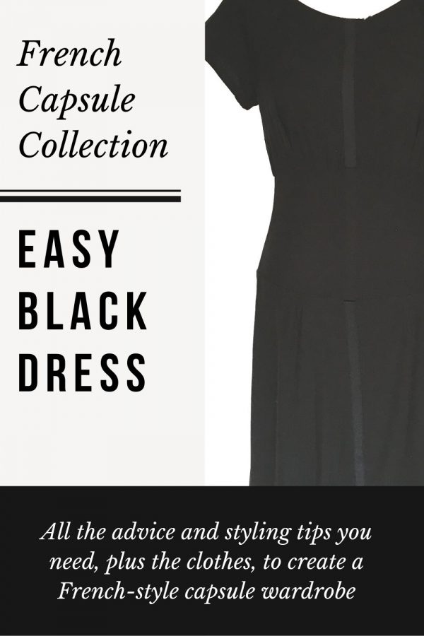 Black relaxed dress half vertical shot also called the easy black dress Working Frocks