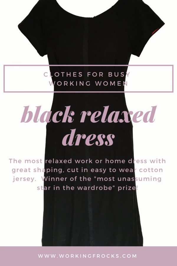 image of black relaxed dress with text superimposed, Working Frocks French capsule wardrobe collection