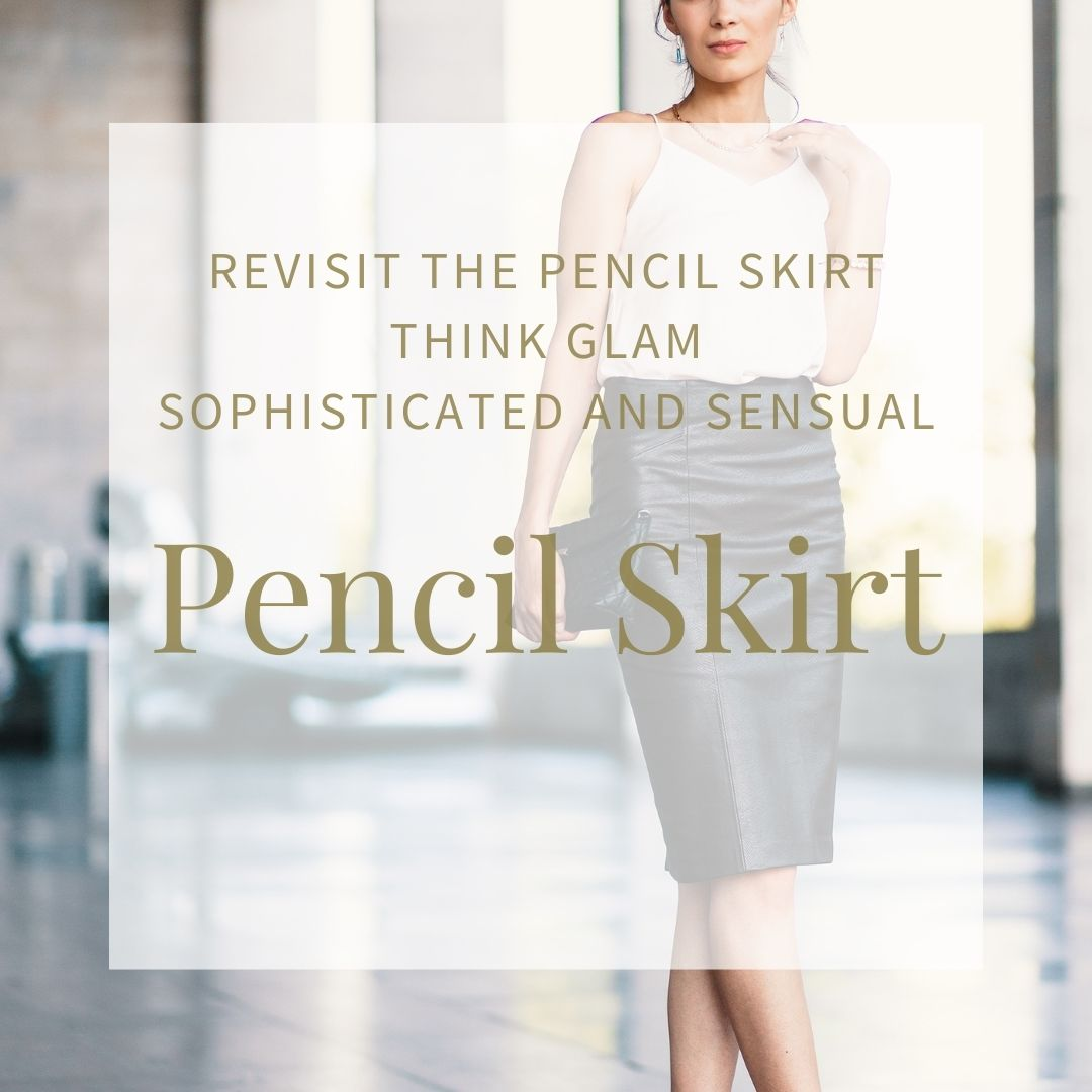Woman in a black pleather or leather pencile skirt with a sleeveless white top working frocks
